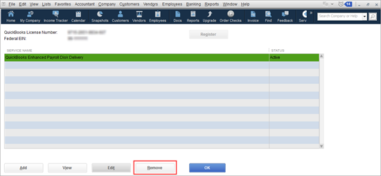 edit service key to view service key number in QuickBooks Desktop