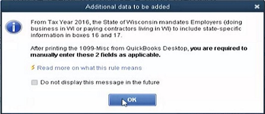 Wisconsin additional 1099 data after printing in QuickBooks Online