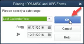 Select date range for printing 1099 forms in QuickBooks Online