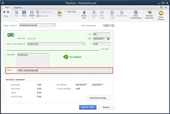 cancel or void pay cheque in QuickBooks payroll