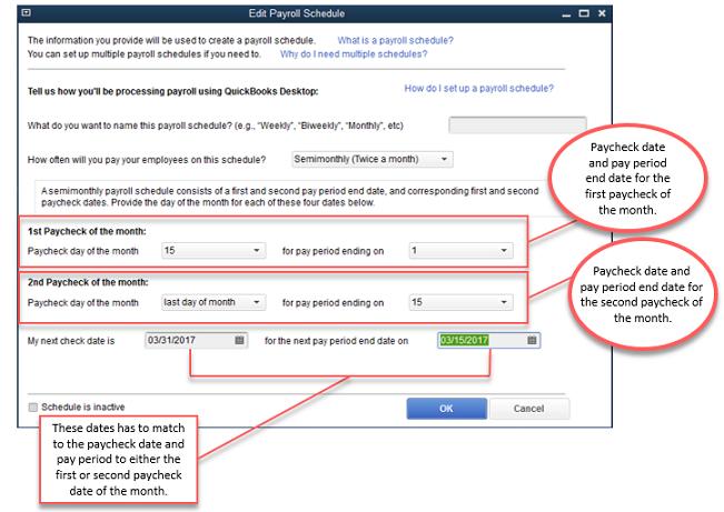 edit payroll schedules in QuickBooks