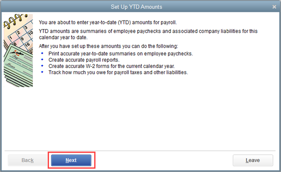 Enter employee Year-To-Date (YTD) amounts/prior payments outside ...