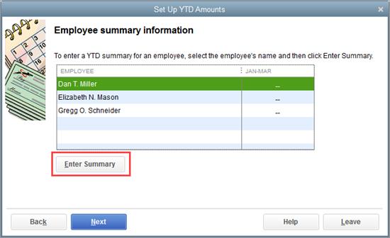 Set up YTD accounts in QuickBooks Payroll setup