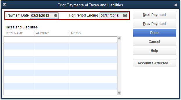 Payment Date and For Period Ending Pay Date fields are selected