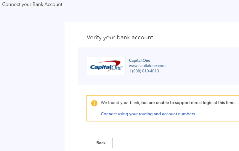 Connect bank to QuickBooks using routing and account numbers