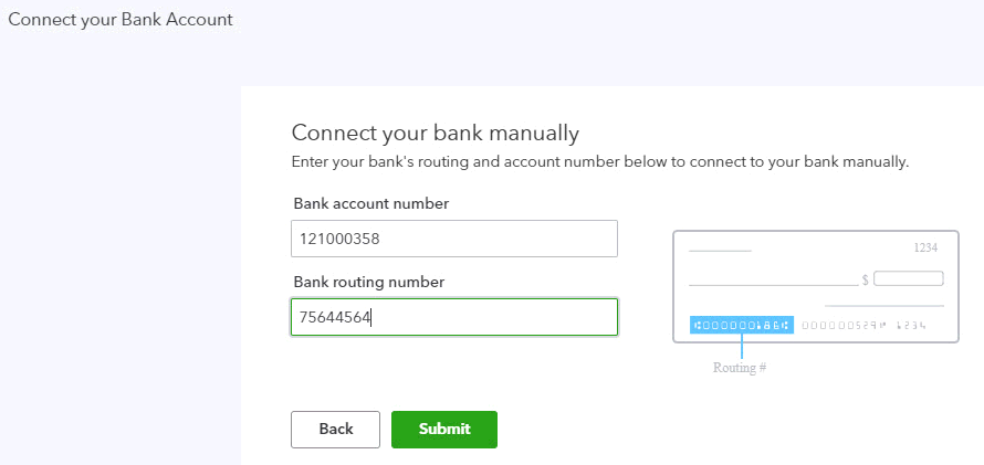 Enter bank account and routing number in QuickBooks