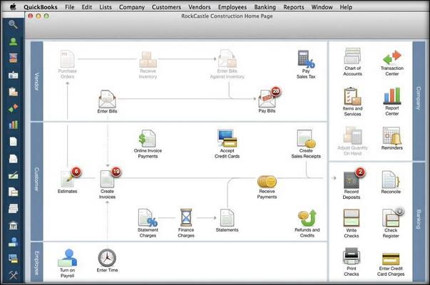 QuickBooks Pro for Mac example screen