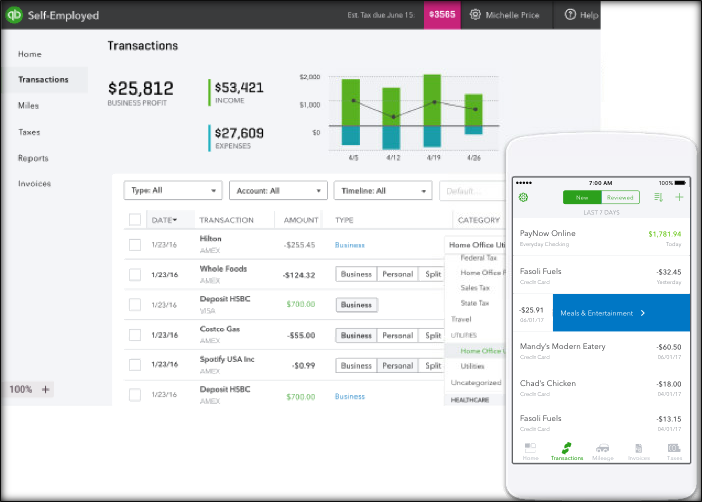 QuickBooks Self-Employed example screen