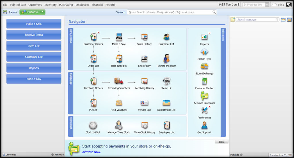 QuickBooks Point of Sale (POS) example screen