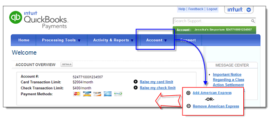 Add or remove amex credit card processing for a quickbooks payme user added image reheart Gallery