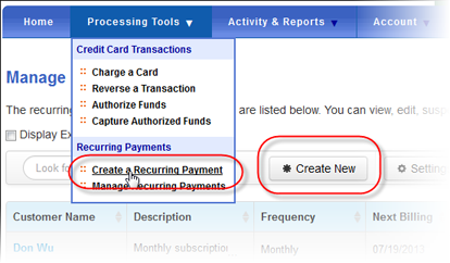 Create a recurring payment in QuickBooks