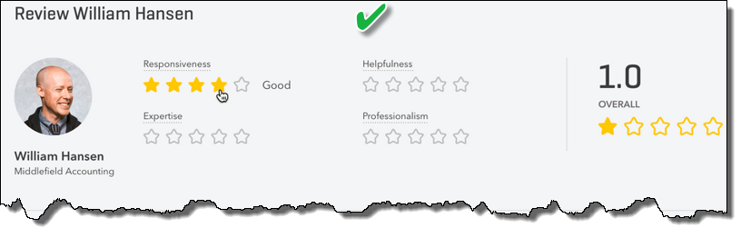 New Find-a-ProAdvisor Review Ratings with four categories