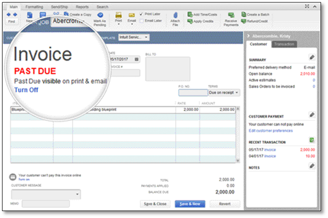 Show Past Due Stamp On Invoices QuickBooks Learn Support - Quickbooks invoice status
