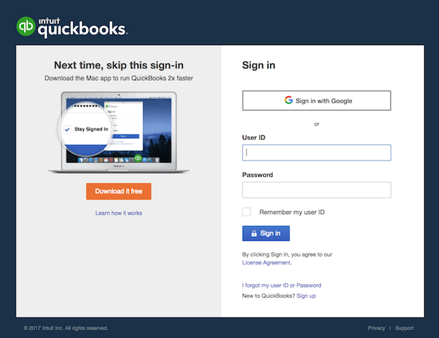 Sign in with Google on QuickBooks Online