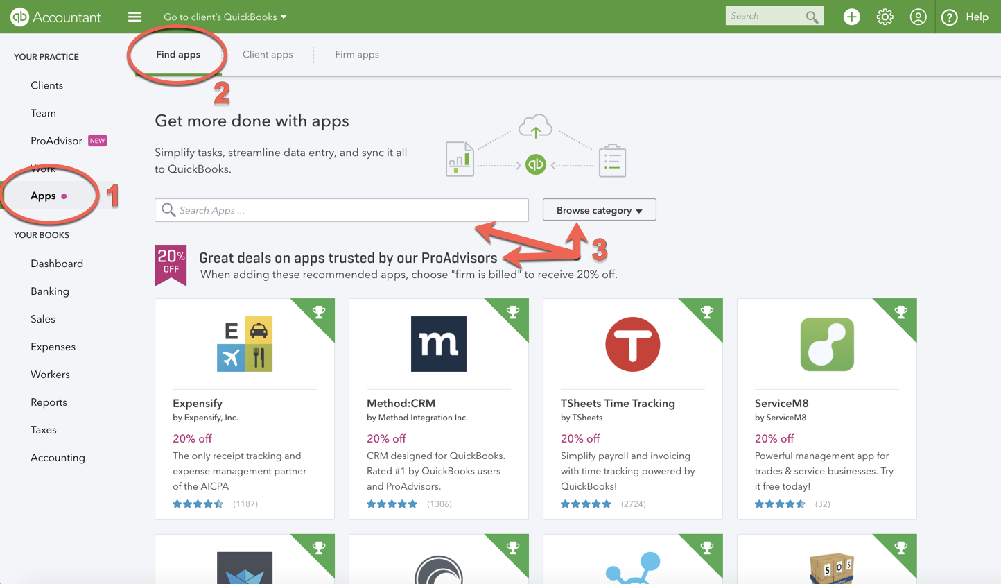 Download and use apps in QuickBooks Online Accountant