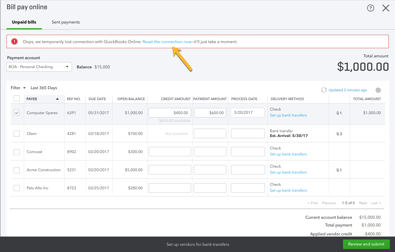 reset connection to Online Bill Pay in QuickBooks