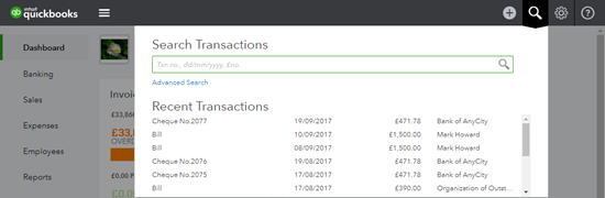 Search for a transaction