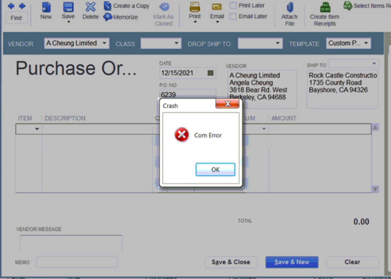 Crash: Com Error in QuickBooks Desktop - QuickBooks Community
