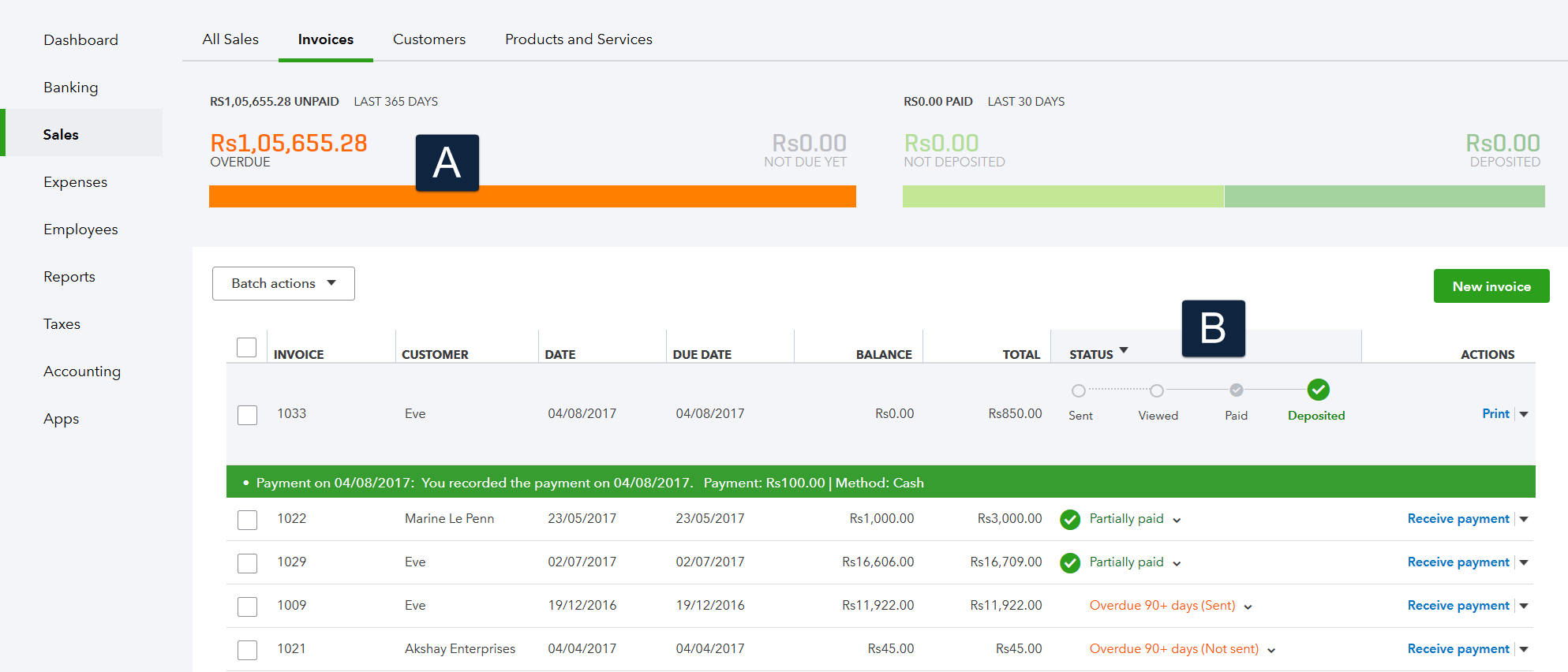 Screenshot of Invoices tab. Also known as Invoice Tracker.