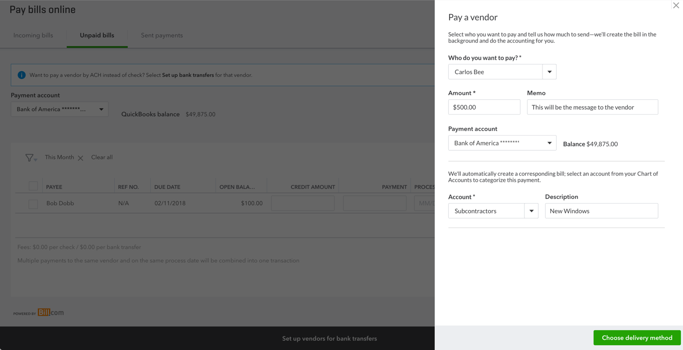 how to pay bills in quickbooks