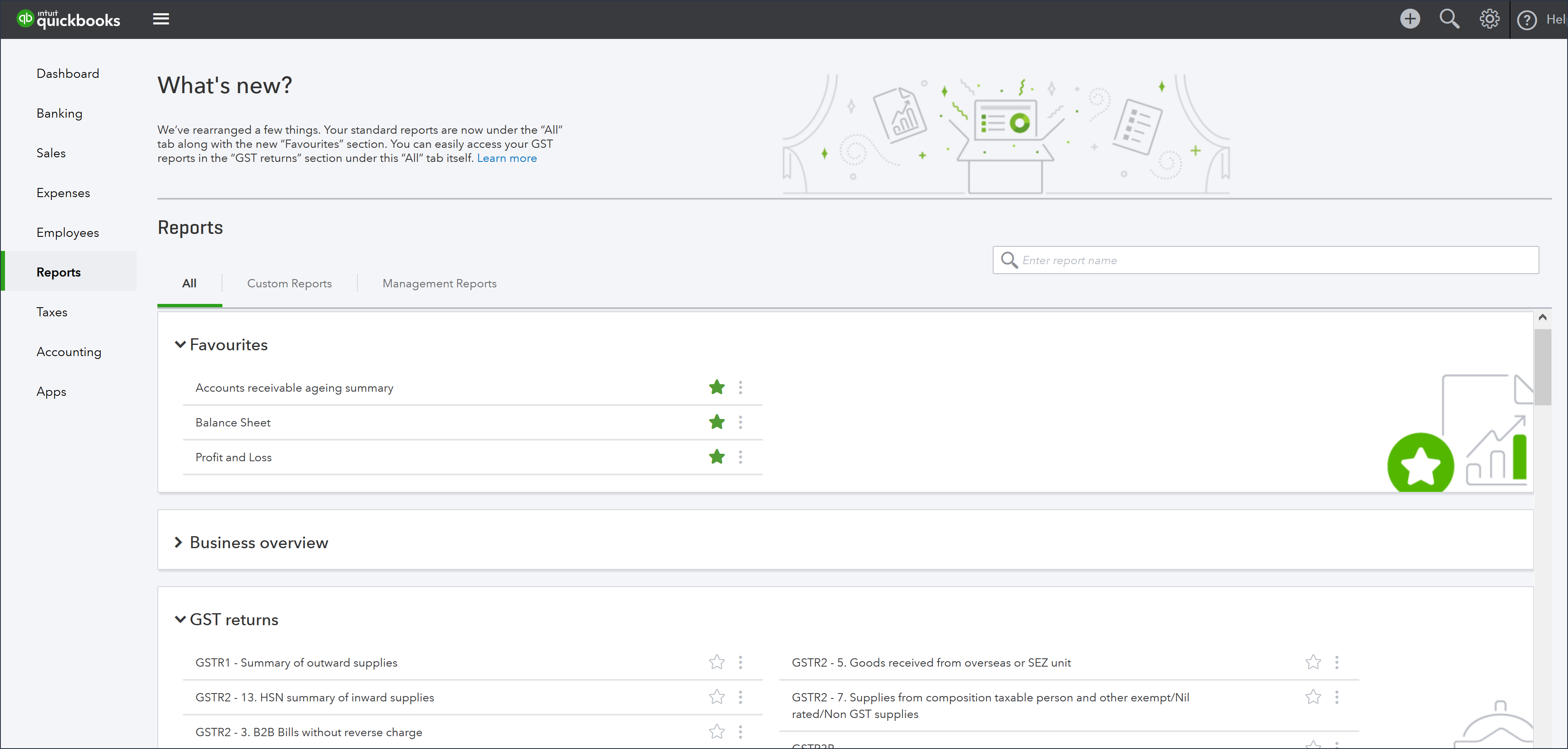 Screenshot of the new reports home page.