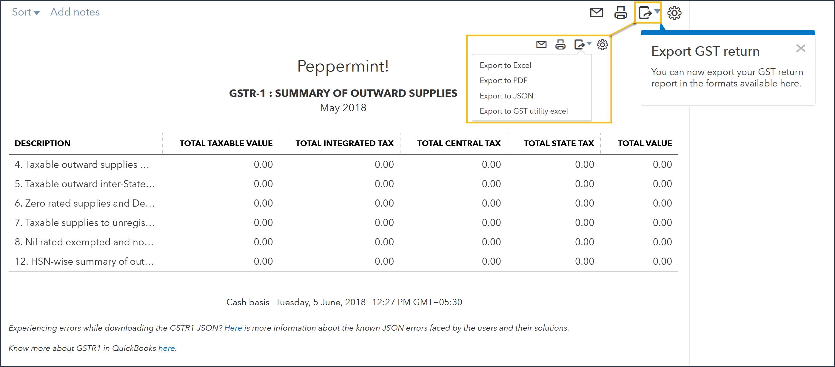 Screenshot of the Export menu in GSTR1