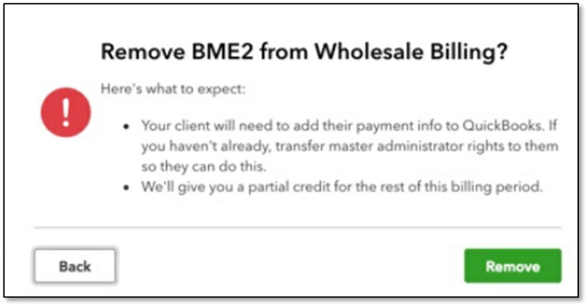 Confirmation prompt when removing a client from wholesale billing