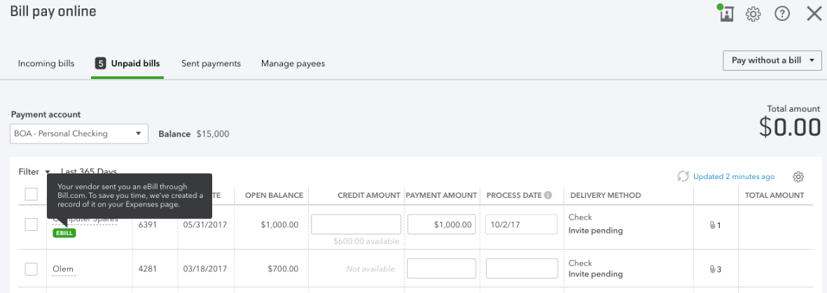 Unpaid Bills tab in QuickBooks Online Bill Pay
