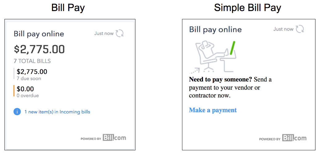 Bill Pay and Simple Bill Pay dashboard widgets in QuickBooks Online