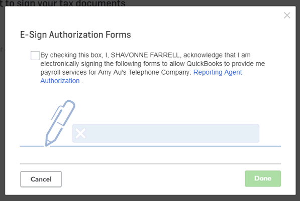 Use esignature to sign authorization forms for QuickBooks Onlin – Payroll Authorization Form