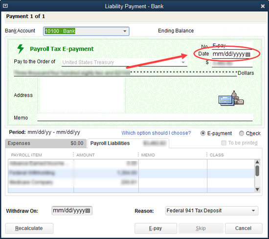 Dates affecting e-payment submission and processin...