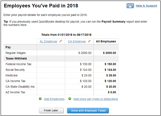 Employees you've paid in 2018 report in Intuit Online Payroll