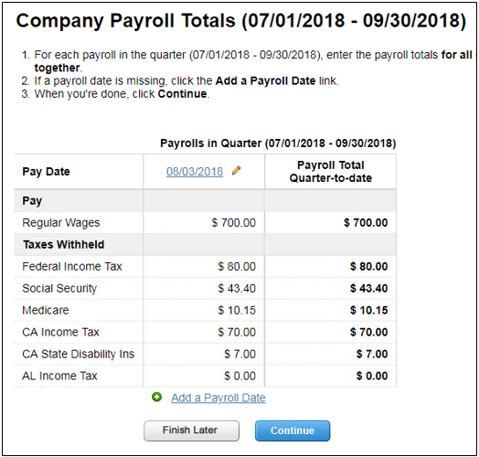 Company payroll totals in Intuit Online Payroll
