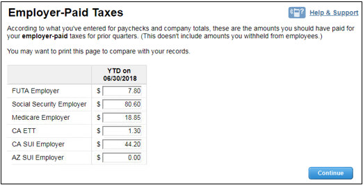 Employer paid taxes in Intuit Online Payroll