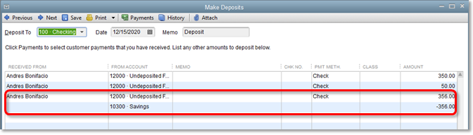sample deposit customer payments