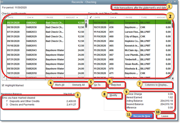 Reconcile an account in QuickBooks Desktop