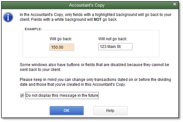 Message explaining fields that can and cannot be changed in the Accountant's Copy in QuickBooks Desktop