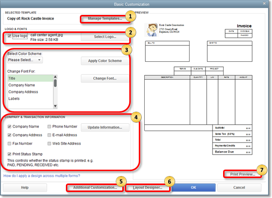 Use And Customize Form Templates - Quickbooks e invoicing