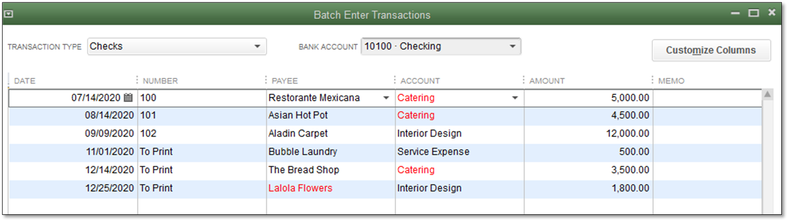 Enter transactions by batch in QuickBooks Desktop