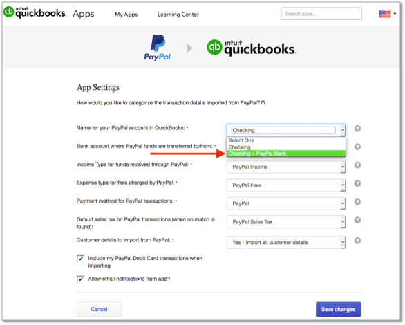 PayPal Sync settings scree in QuickBooks Online
