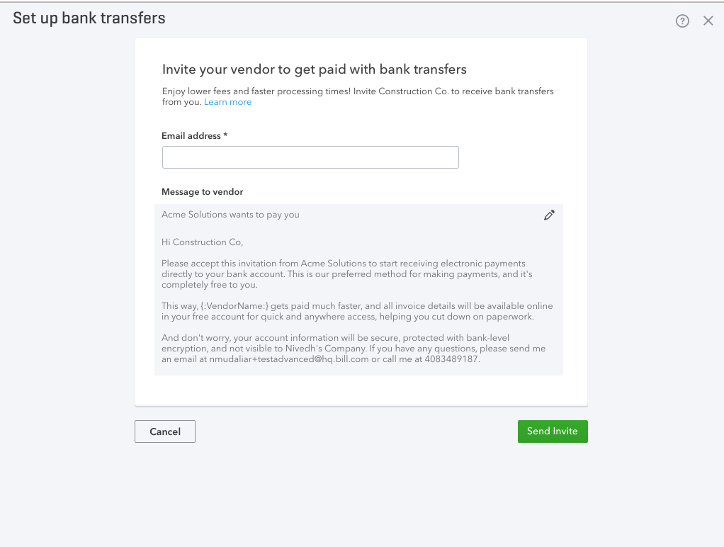 Invite vendors to bank transfers in QuickBooks Online