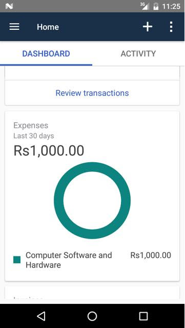 Expense pie chart in the QBO Android app
