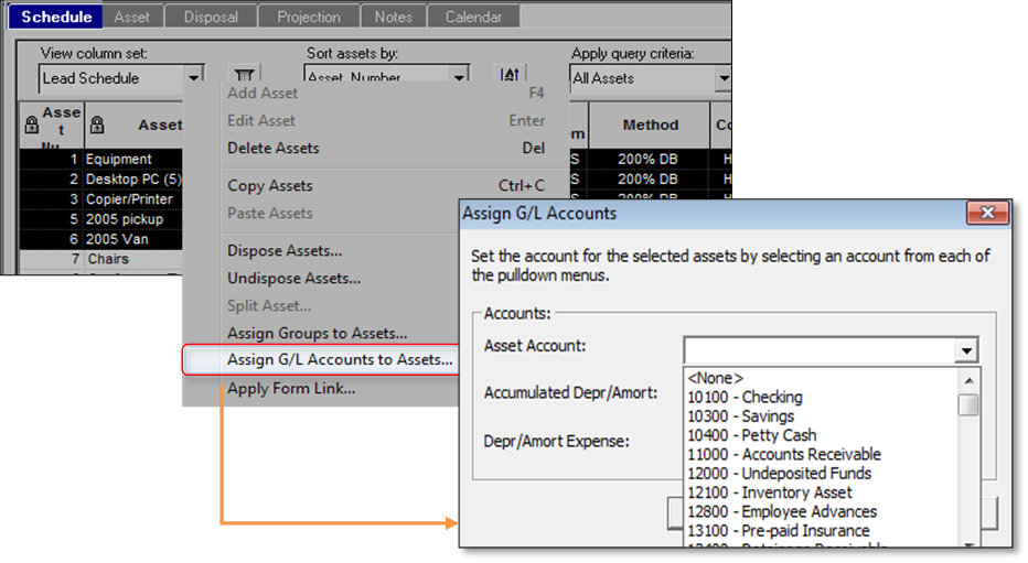 Assign an account to multiple assets
