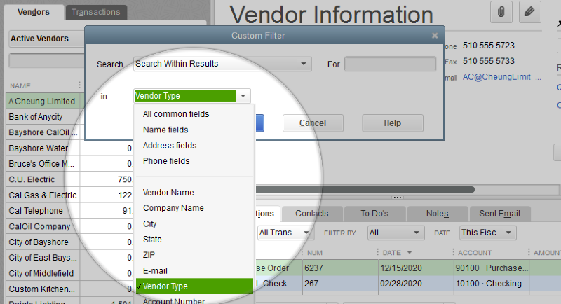Search type - vendor