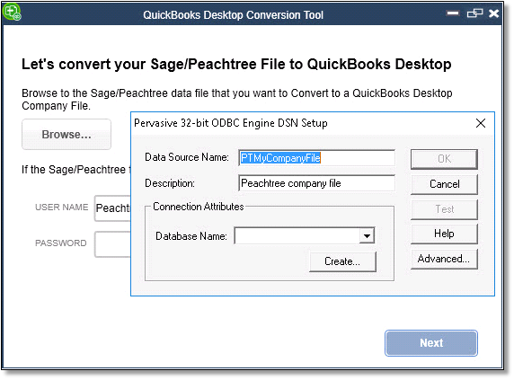 Use Sage or Peachtree conversion tool to convert t