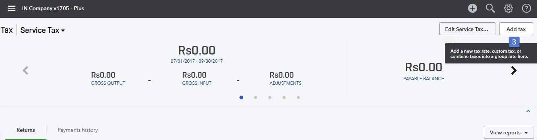 Screenshot of the Add Tax button.