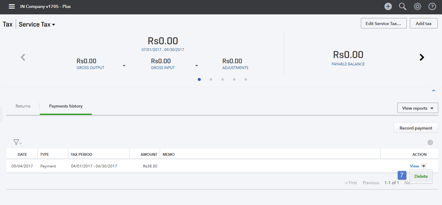 Screenshot of the Delete Payment option.