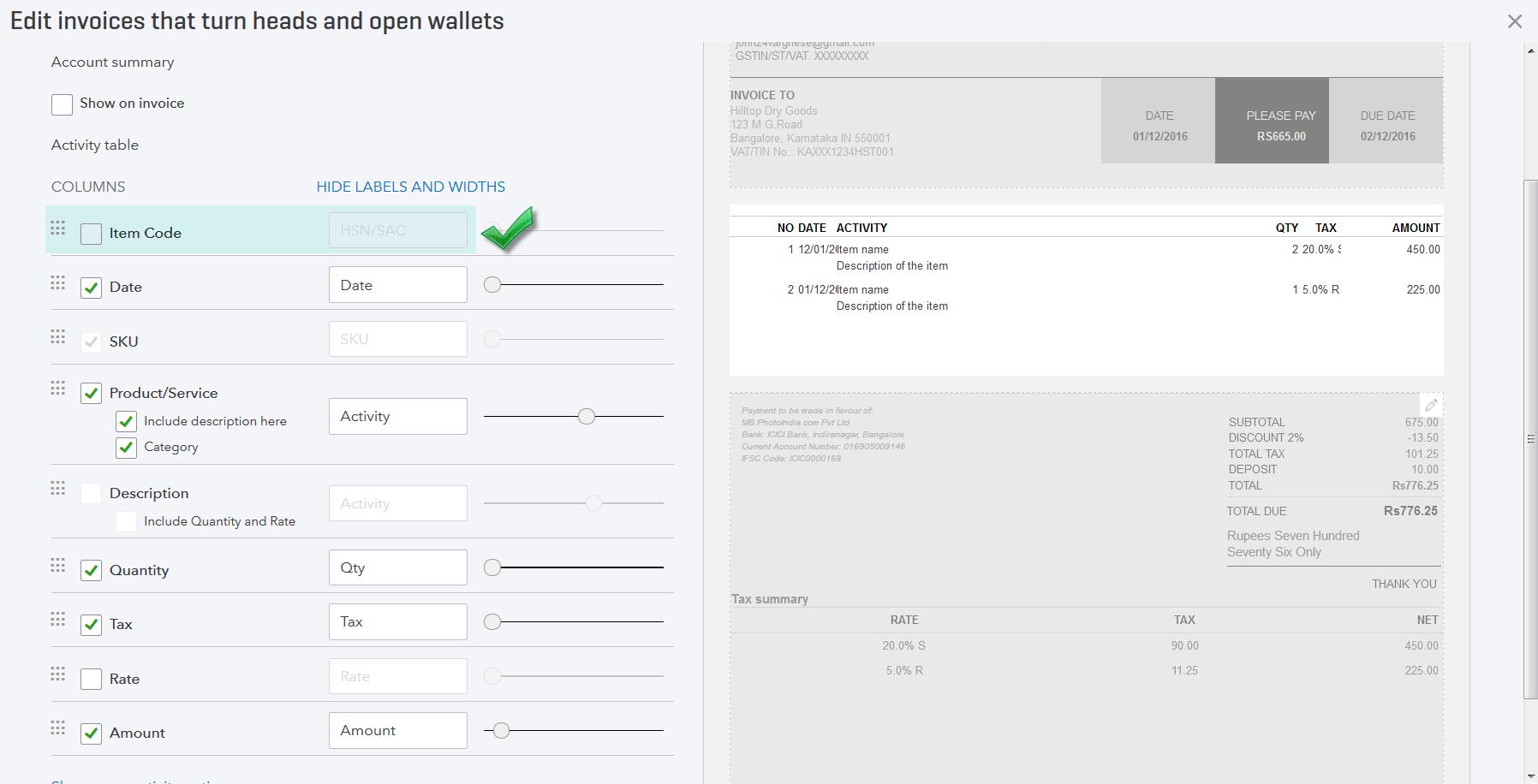 Screenshot of HSN/SAC column being enabled in Custom Form Styles.