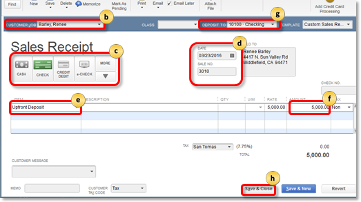 Record upfront deposit on sales receipt in QuickBooks Desktop
