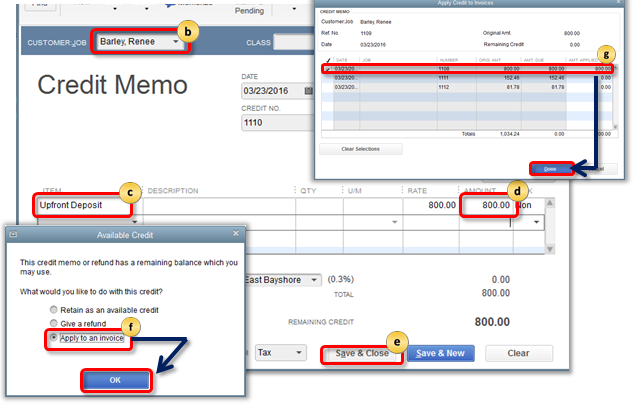 Apply upfront deposit as a credit on an invoice in QuickBooks Desktop